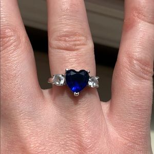 Sterling Silver Sapphire Heart Ring
